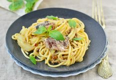 Spaghetti with sardine sauce Royalty Free Stock Photography