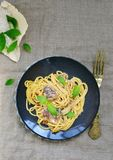 Spaghetti with sardine sauce Royalty Free Stock Images
