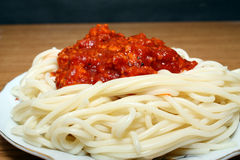 Spaghetti with sauce Royalty Free Stock Photography