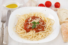Spaghetti with sauce and cheese Stock Photo