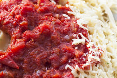 Spaghetti with Sauce and Cheese Stock Photography