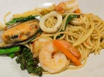 Spaghetti sauce drunken shrimp,shrimp focus. Spaghetti sauce drunken shrimp. Hot and spice in thai food Royalty Free Stock Photo