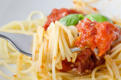 Spaghetti and Sauce on Fork Royalty Free Stock Photography