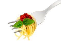 Spaghetti with sauce on a fork Royalty Free Stock Image