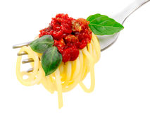 Spaghetti with sauce on a fork Royalty Free Stock Photos