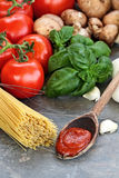 Spaghetti Sauce and Fresh Ingredients Royalty Free Stock Images