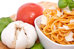 Spaghetti with sauce ingredients Royalty Free Stock Images