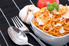 Spaghetti with sauce ingredients Stock Photography