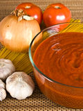 Spaghetti Sauce & Ingredients. Spaghetti sauce in a bowl with other ingredients stock photography