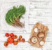 Spaghetti sauce ingredients tomato mushrooms agretti Stock Photography
