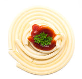 Spaghetti, sauce and parsley Stock Images