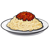 Spaghetti with sauce. At the plate Stock Photos