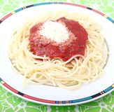 Spaghetti with a sauce of tomatoes Royalty Free Stock Images