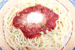 Spaghetti with a sauce of tomatoes Stock Photo
