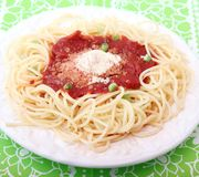 Spaghetti with a sauce of tomatoes Royalty Free Stock Image