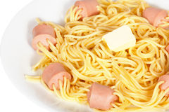 Spaghetti with sausage Stock Photos