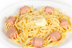 Spaghetti with sausage Stock Images