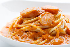 Spaghetti with sausage and tomato sauce Royalty Free Stock Photo