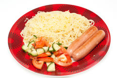 Spaghetti and sausages Royalty Free Stock Photography