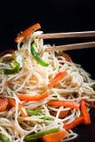 Spaghetti sautéed con le verdure fotografie stock libere da diritti