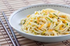 Spaghetti sauteed with vegetables Stock Image