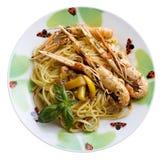 Spaghetti with scampi Stock Image