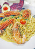 Spaghetti with scampi Stock Photography