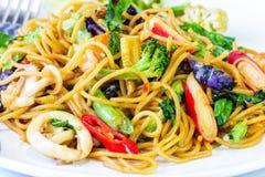 Spaghetti sea food Stock Photos