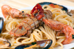 Spaghetti with Sea Fruits and Shellfishes Royalty Free Stock Photos