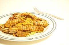Spaghetti with sea mantis Stock Photo