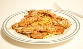 Spaghetti with sea mantis Royalty Free Stock Photos