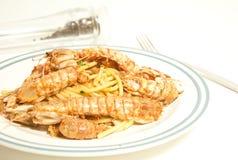 Spaghetti with sea mantis Stock Photography