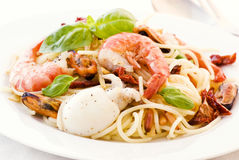Spaghetti with Seafood Stock Images