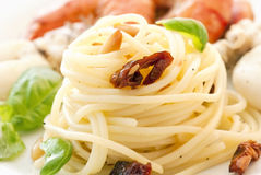 Spaghetti with Seafood Stock Photo