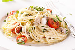 Spaghetti with seafood Stock Image