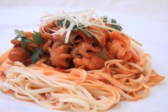 Spaghetti seafood. With squid and pepper Royalty Free Stock Images
