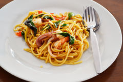 Spaghetti seafood. On white plate Stock Photography