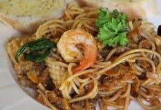 Spaghetti seafood. Stock Photos