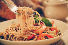 Spaghetti. Seafood with chili & basil-Filtered Images stock images