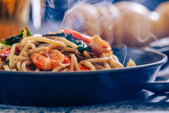 Spaghetti. Seafood with chili & basil-Filtered Images royalty free stock images