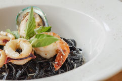 Spaghetti with seafood Royalty Free Stock Photos