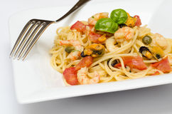 Spaghetti with seafood Stock Photos