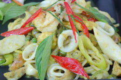 Spaghetti and Seafood Green Curry Sauce Stock Photos