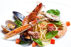Spaghetti seafood isolated Stock Photos