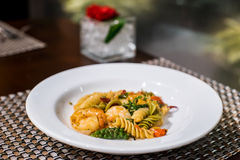 Spaghetti. Seafood spaghetti on the plate Royalty Free Stock Images