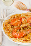 Spaghetti with seafood on the plate Stock Photos