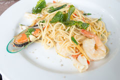 Spaghetti seafood Stock Images