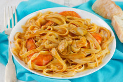 Spaghetti with seafood on the plate Stock Image