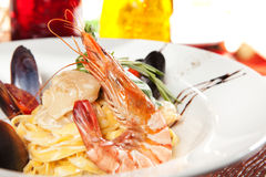 Spaghetti with seafood Royalty Free Stock Photography