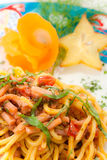 Spaghetti with seafoood with decoration Royalty Free Stock Photo